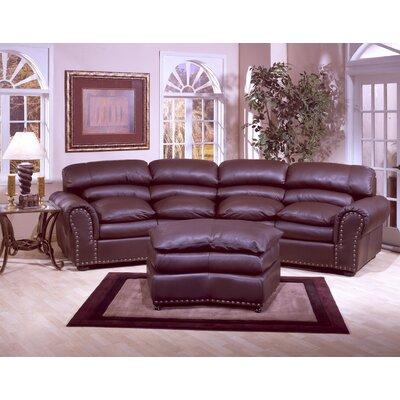 Omnia Furniture Williamsburg 3 Seat Leather Living Room Set