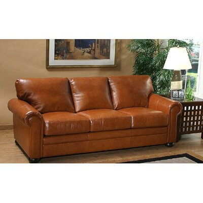 Omnia Furniture Georgia Leather Full Sleeper Sofa Living Room Set