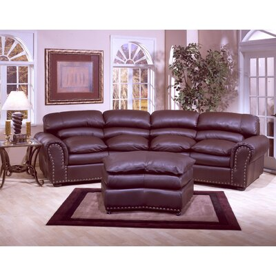 Omnia Furniture Williamsburg 4 Seat Conversation Leather Sofa Room Set