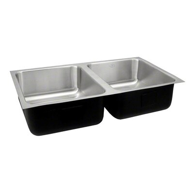 "Just Manufacturing 32"" x 18"" Double Bowl Undermount Kitchen Sink"