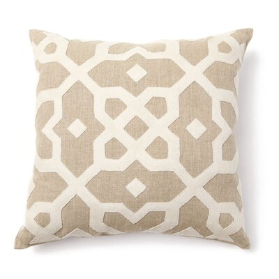 Villa Home Provence Tuscan Tile Wool Applique Pillow in Natural