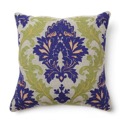 Villa Home Full Bloom Amalfi Embroidered Pillow in Blue and Green