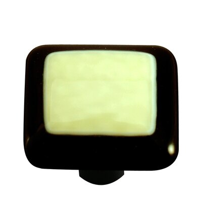 Hot Knobs Borders Cabinet Knob in French Vanilla with Black Border
