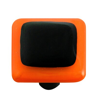 Borders Cabinet Knob in Black with Opal Orange Border