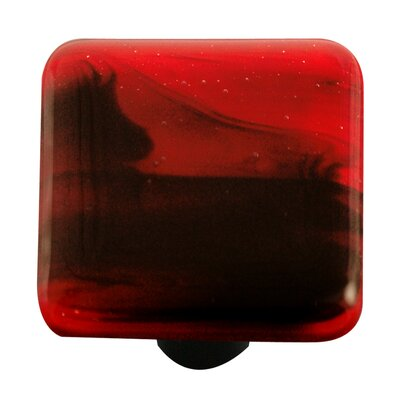 Hot Knobs Swirl Cabinet Knob in Black / Brick Red