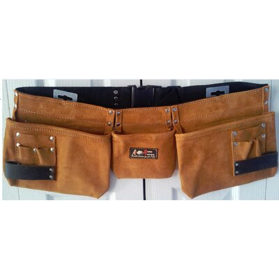9 Pocket Suede Leather Tool Pouch Bag Belt