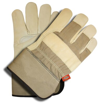 Grain Goat Leather Palm Gloves with Rubberized Cuff