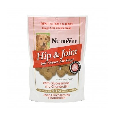 Nutri Vet Nutritionals Natural Smoke Flavored Hip and Joint Level Two Soft Chews for Dogs