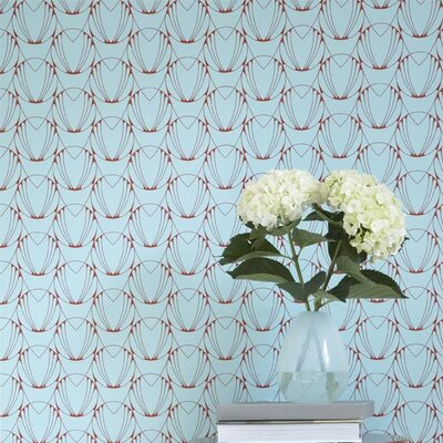 Tempaper Alto Temporary Wallpaper in Caribbean Blue / Coral Red