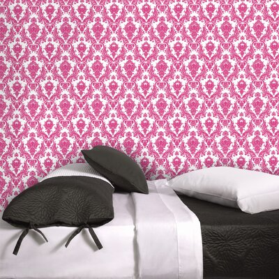 Tempaper Damsel Temporary Wallpaper in Fuchsia / White