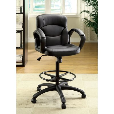 Hokku Designs Ebony Mid-Back Leatherette Office Chair with Arms