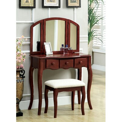 Hokku Designs Sophisticated Vanity Set with Padded Stool and Mirror