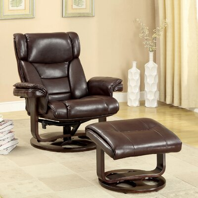 Hokku Designs Fawn Swivel Recliner Chair and Ottoman