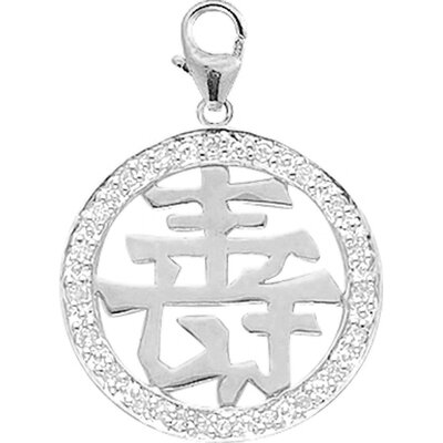14K White Gold Diamond Chinese-Happiness Charm