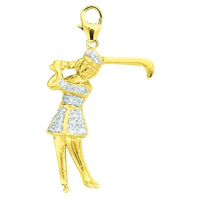 EZ Charms 14K Yellow Gold Diamond Lady Golfer Charm