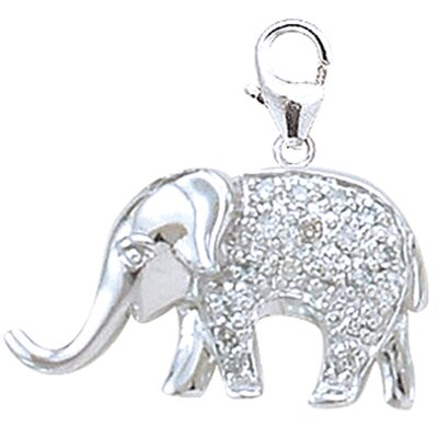 EZ Charms 14K 1.15 Grams White Gold Diamond Elephant Charm