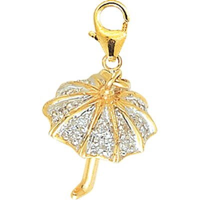 EZ Charms 14K Yellow Gold Diamond Umbrella Charm