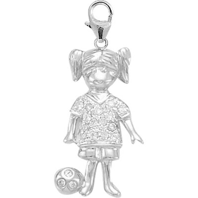 14K White Gold Diamond Girl Soccer Player Charm
