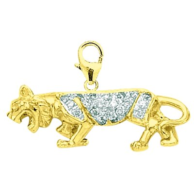 EZ Charms 14K Yellow Gold Diamond Panther Charm