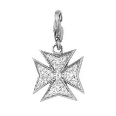 EZ Charms 14K 1.25 Grams White Gold Diamond 0.08Ct Maltese Cross Charm