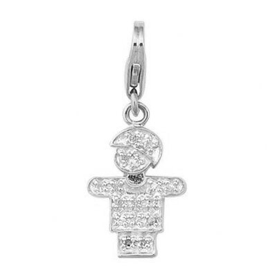 EZ Charms 14K 0.8 Grams White Gold Diamond 0.08Ct Boy Hugs Charm