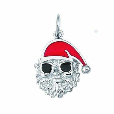 EZ Charms Sterling Silver Santa with Sun Glasses Charm
