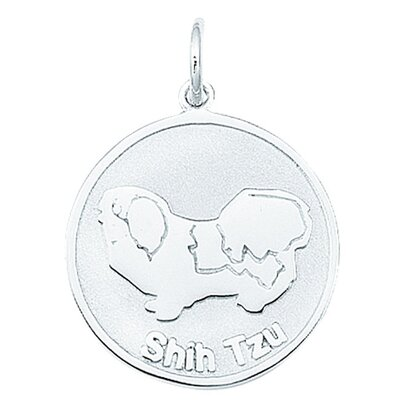 EZ Charms Sterling Silver Shihtzu Round Disc Charm