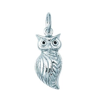 Sterling Silver 3-D Owl with Green Enamel Eyes Charm