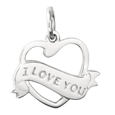 EZ Charms Sterling Silver Cut Out 'I Love You Heart' Charm