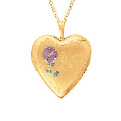 EZ Charms Heart Shaped 'Mom' Locket with Rose in Gold