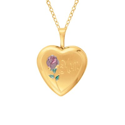 Heart Shaped 'Mom' Locket Necklace with Rose in Gold