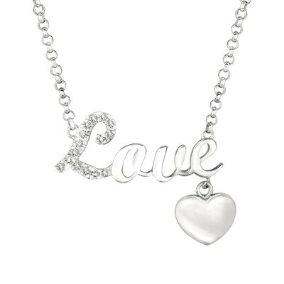 "EZ Charms Silver Diamond ""Love"" with Heart Necklace"