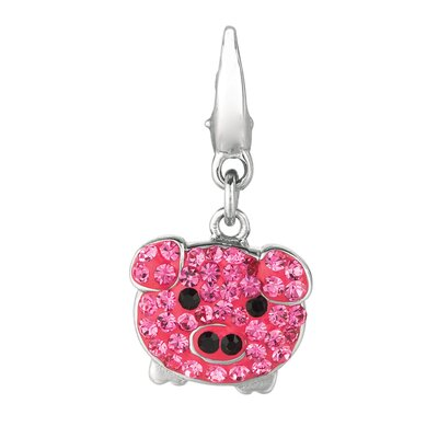 EZ Charms Crystal Pig Charm with Swarovski Elements