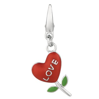 Sterling Silver Love Heart Flower Charm