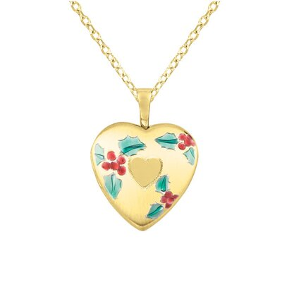 Colored Cherries Heart Locket Necklace