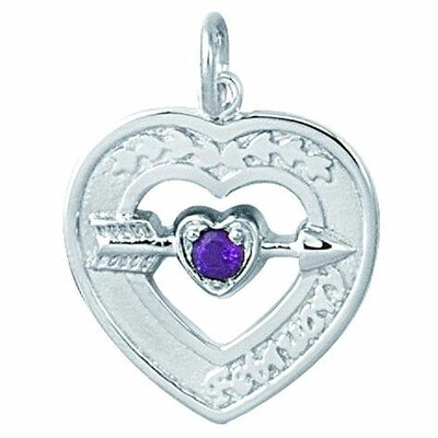EZ Charms Sterling Silver Heart with Birthstone Necklace