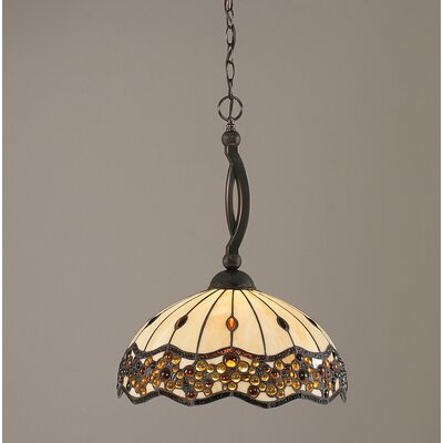 Bow Downlight Pendant with Italian Bubble Glass Shade