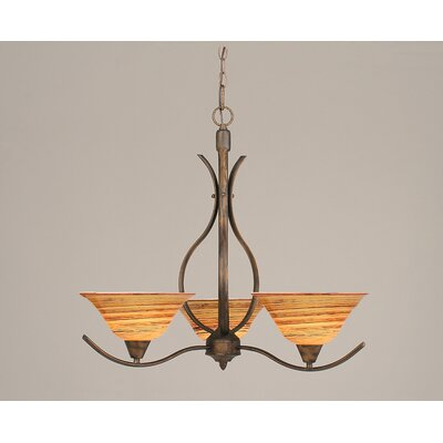 Toltec Lighting Swoop 3 Up Light Chandelier with Glass Shade