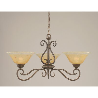 Toltec Lighting Olde Iron 3 Light  Chandelier with Crystal Glass Shade