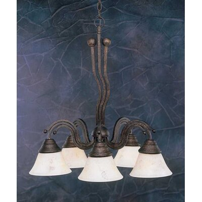 Toltec Lighting Wave 5 Light  Chandelier with Italian Marble Glass Shade