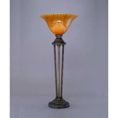 "Toltec Lighting Table Lamp with 14"" Tiger Glass Shade"