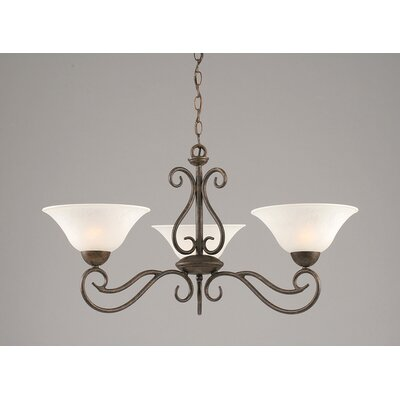Toltec Lighting Olde Iron 3 Light  Chandelier with Marble Glass Shade