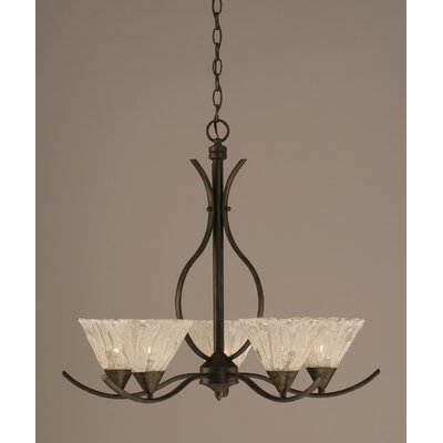 Swoop 5 Light Chandelier with Italian Ice Glass