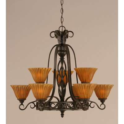 Toltec Lighting Eleganté 9 Light Up Chandelier with Tiger Glass
