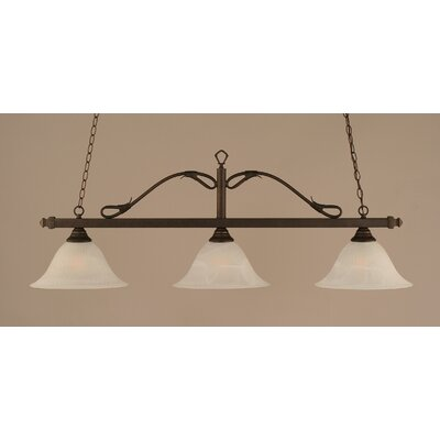 Scroll 3 Light Billiard Pendant