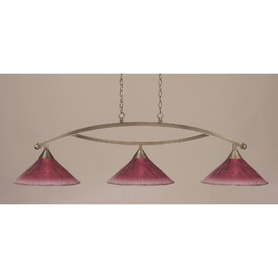 Toltec Lighting Bow 3 Light Billiard Pendant