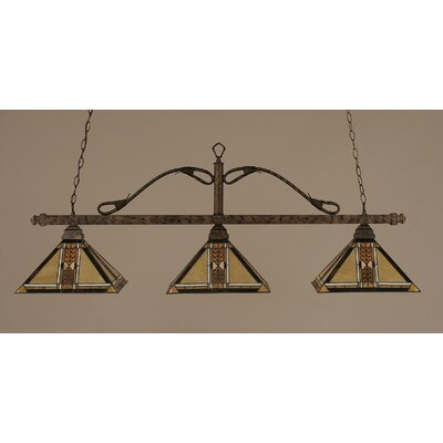 Toltec Lighting Square 3 Light Billiard Pendant