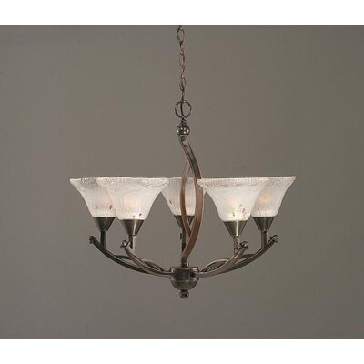 Toltec Lighting Bow 5 Light Up Chandelier with Crystal Glass