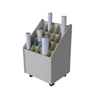 Adir Corp Mobile Wood Roll File with 20 Compartments for Blueprints