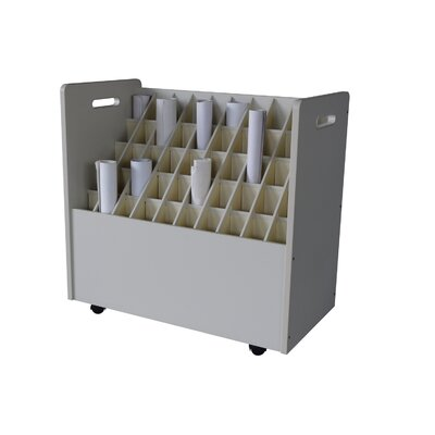 Adir Corp Mobile Wood Roll File with 50 Compartments for Blueprints